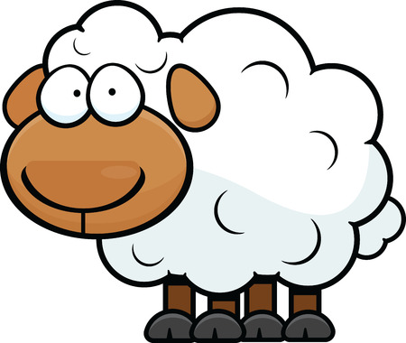 Cartoon illustrazione di una pecora con una espressione vuota. Archivio Fotografico - 29688788