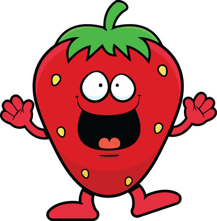Cartoon illustration of a strawberry character with a happy expression.