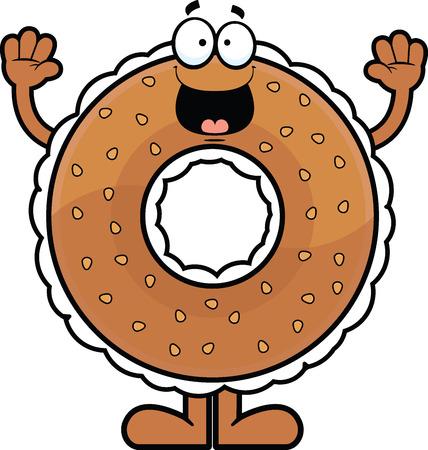 bagel: Cartoon illustratie van een roomkaas gevuld bagel met een gelukkige uitdrukking.
