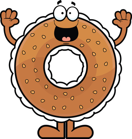 Cartoon illustration of a cream cheese filled bagel with a happy expression.  Illustration