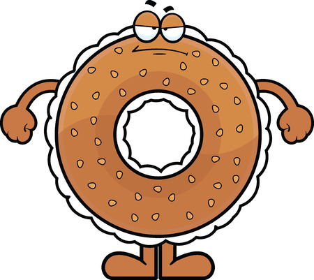 Cartoon illustration of a cream cheese filled bagel with a grumpy expression.  Vector