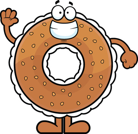 toasted: Cartoon illustration of a cream cheese filled bagel waving.  Illustration