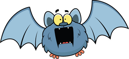 Cartoon illustration of a flying bat with a surprised expression.