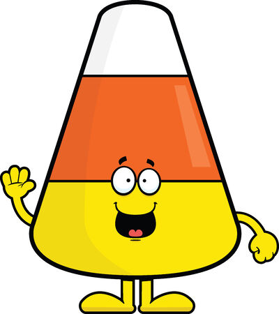 Cartoon illustration of candy corn with a happy expression.