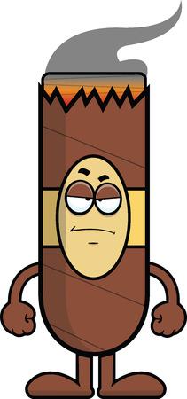 Cartoon illustration of a cigar with a grumpy expression.