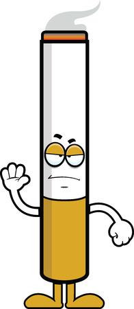 Illustration de bande dessinée d'une cigarette avec une expression de mauvaise humeur. Banque d'images - 31236584
