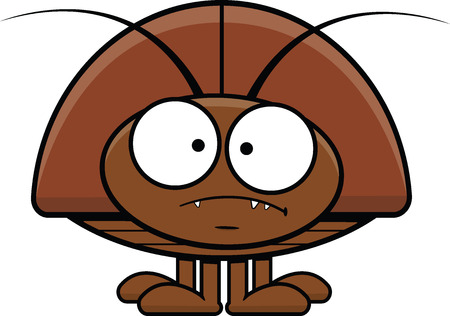 infestation: Cartoon illustration of a cockroach with a grumpy expression.