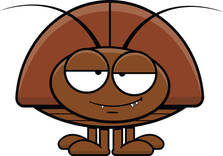 Cartoon illustration of a cockroach with a happy expression.  Vector