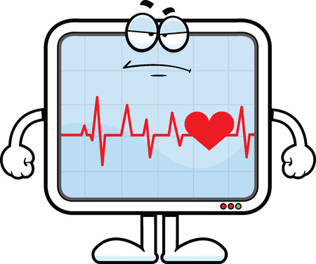 heart monitor: Cartoon illustration of a heart monitor with a grumpy expression.  Illustration