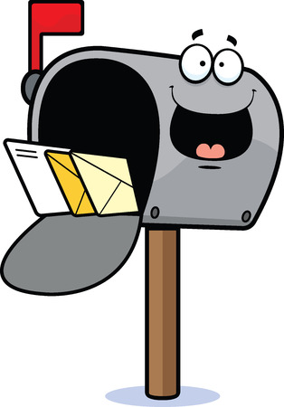 Cartoon illustration of a mailbox with a happy expression.  Illustration