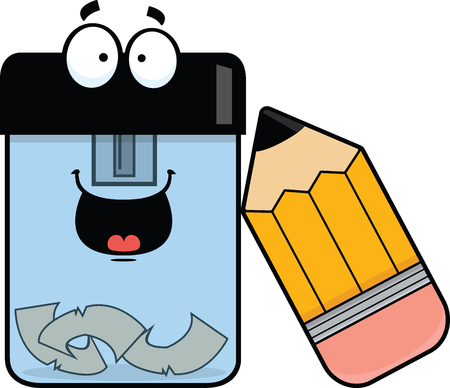 Illustration de bande dessinée d'un taille-crayon avec une expression heureuse. Banque d'images - 31236522