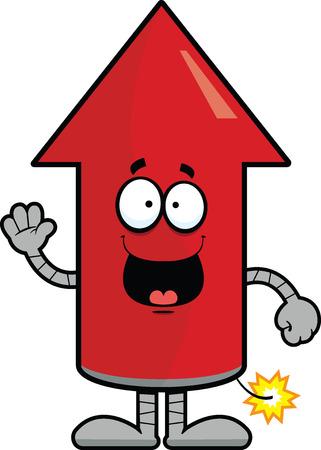 booster: Cartoon ilustraci�n de un cohete con una expresi�n feliz.