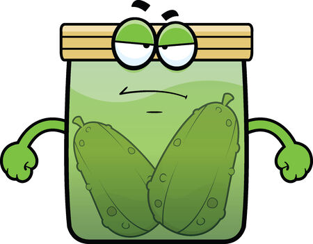 pickle: Cartoon illustration of a pickle jar with a grumpy expression.  Illustration