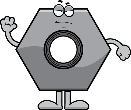 Cartoon illustration of a bolt with a grumpy expression.  Vettoriali