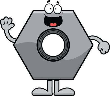 Cartoon illustration of a bolt with a happy expression.  Vettoriali