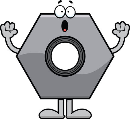 Cartoon illustration of a bolt with a surprised expression.  Vettoriali