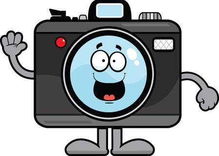 Cartoon Illustration von einer Kamera mit einem glücklichen Ausdruck. Standard-Bild - 31789772