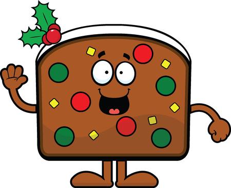 Cartoon illustration slice of Christmas fruit cake smiling and waving.