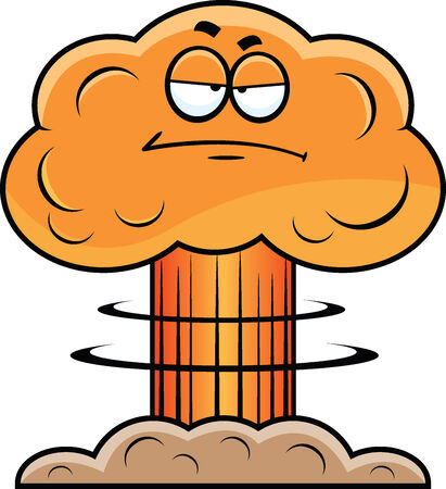 Cartoon illustration of a mushroom cloud with a grumpy expression. Illusztráció