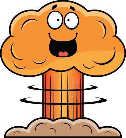 Cartoon illustration of a mushroom cloud with a happy expression. Illusztráció