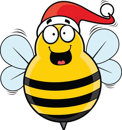 Cartoon illustration of a happy festive bee with a Santa hat. 向量圖像