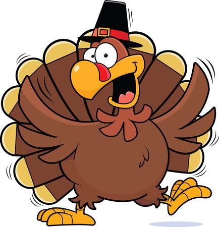 pilgrim hat: Cartoon illustration of a turkey happily dancing wearing a pilgrim hat.