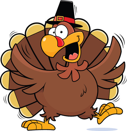 Cartoon illustration of a turkey happily dancing wearing a pilgrim hat.