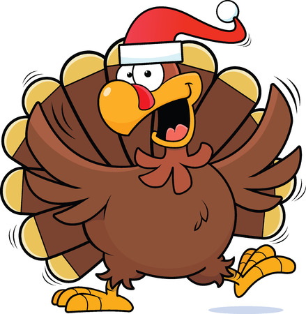 Cartoon illustration of a happy turkey wearing a Santa hat.