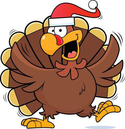 Ilustración de la historieta de un pavo feliz que lleva un sombrero de Santa.