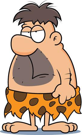 Cartoon illustration of a caveman with a grumpy expression.