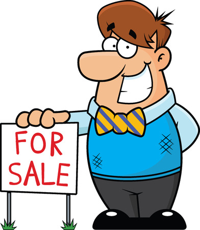 for sale sign: Cartoon illustration of a realtor standing next to a For Sale sign. Illustration