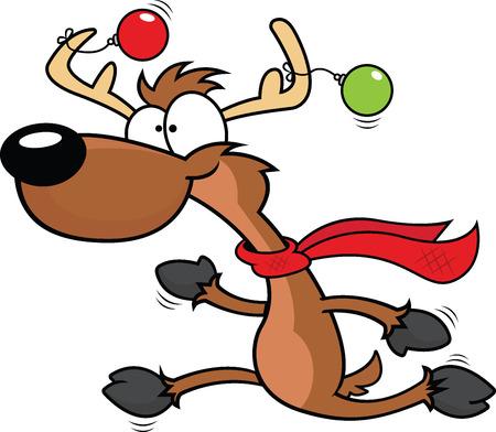 renos de navidad: Ilustración de dibujos animados de un reno que se ejecuta con una expresión feliz.