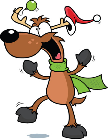 Cartoon illustration of a dancing reindeer.