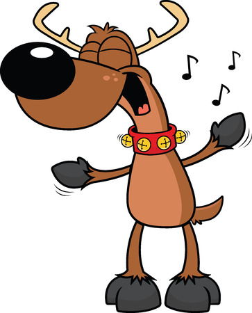 Cartoon ilustration of a reindeer smiling and singing.