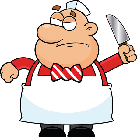 Cartoon illustration of a butcher with a grumpy expression. Vector