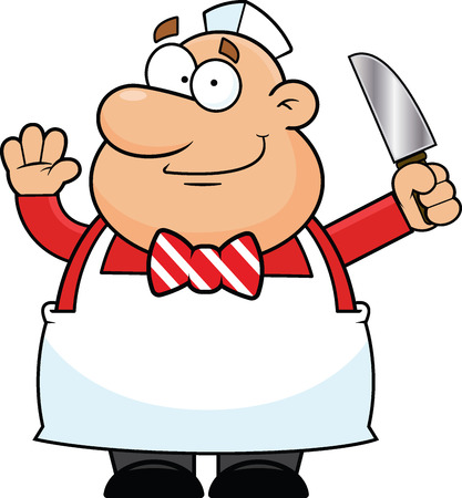 Cartoon illustration of a butcher with a happy expression.