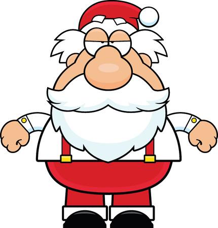 grumpy: Cartoon illustration of Santa Claus with a grumpy expression.