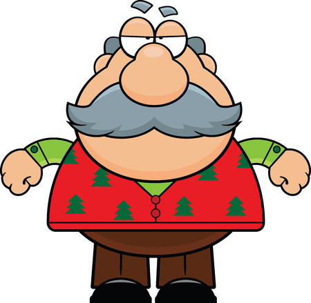 grumpy old man: Cartoon illustration of an old man with a grumpy expression in a Christmas sweater.