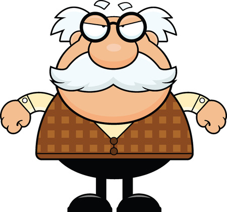 Cartoon illustration of a grandpa with a grumpy expression.