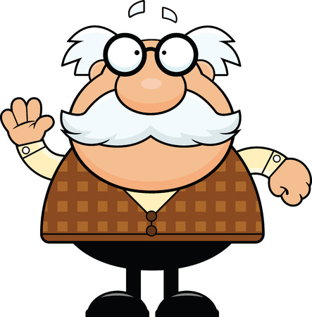 Cartoon illustration of a grandpa waving.