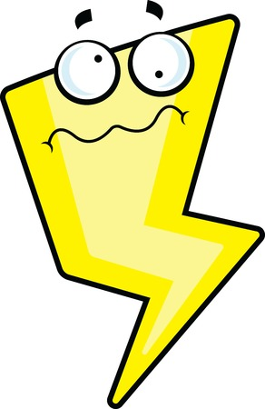 Cartoon illustration of a lightning bolt with a dizzy expression. Illustration