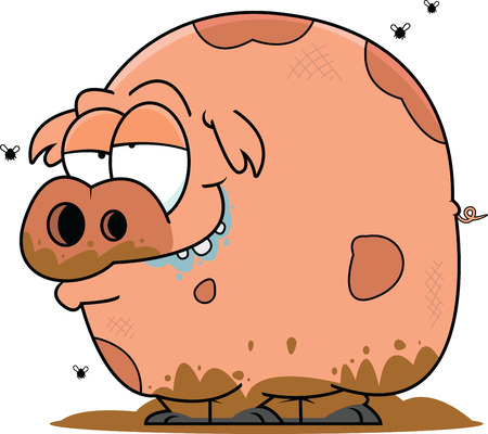 Illustration of a cartoon pig covered in mud. Illustration