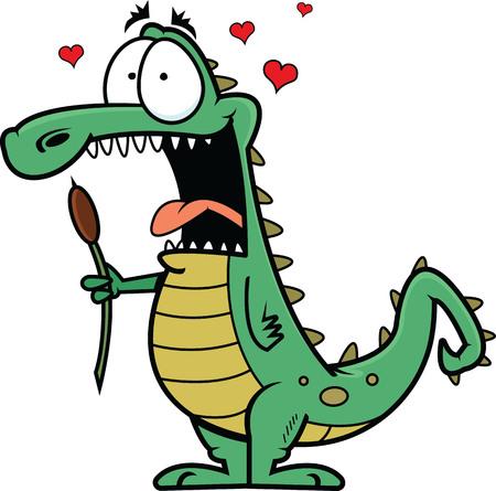 Illustration of a cartoon crocodile in love, holding a bulrush. Ilustração