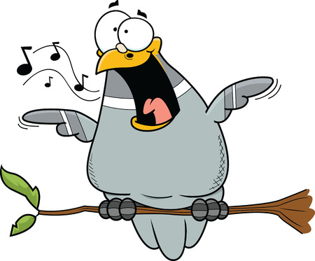 Illustration of a happy cartoon pigeon.