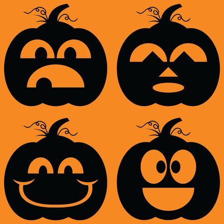 Illustrated set of Jack-o-Lantern silhouettes.