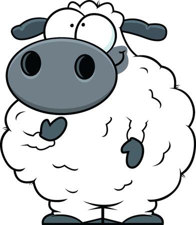 Illustration of a small cartoon sheep. Ilustração