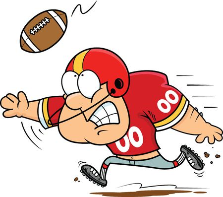 Illustration of a football player catching a football.