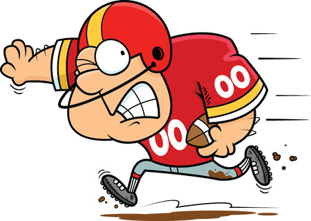 Illustration of a cartoon football player running with the ball. Illustration