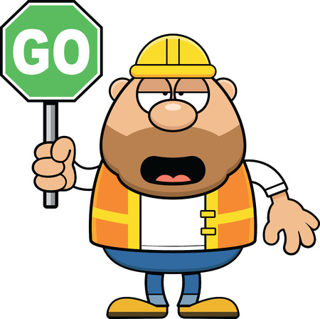 Cartoon illustration of a road worker holding a go traffic sign and looking tired.