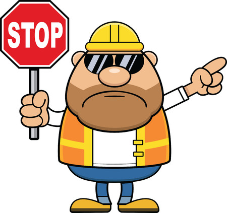Cartoon illustration of a construction worker holding a stop sign and pointing.